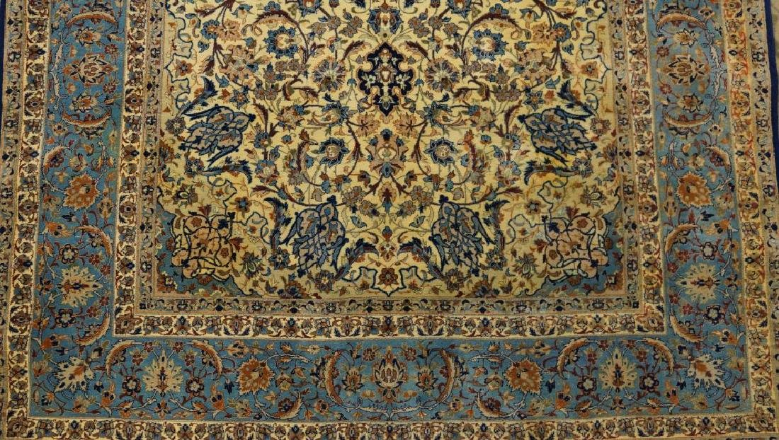 HAND KNOTTED PERSIAN SILK & WOOL ISFAHAN RUG - 5