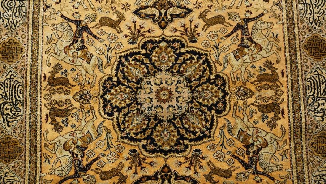 HAND KNOTTED PERSIAN SILK QUM RUG - 3