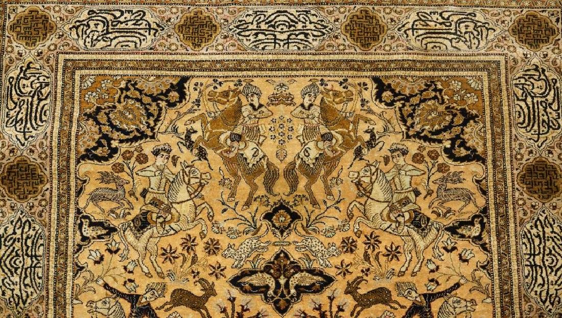 HAND KNOTTED PERSIAN SILK QUM RUG - 4