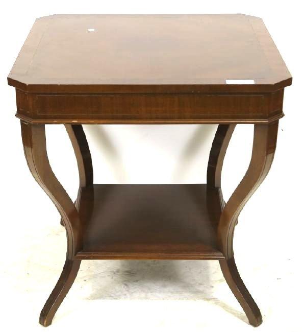 PAIR OF CONTEMPORARY MAHOGANY LAMP TABLES