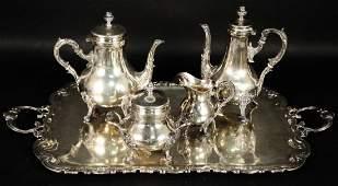 FIVEPIECE PERUVIAN STERLING SILVER TEA SET