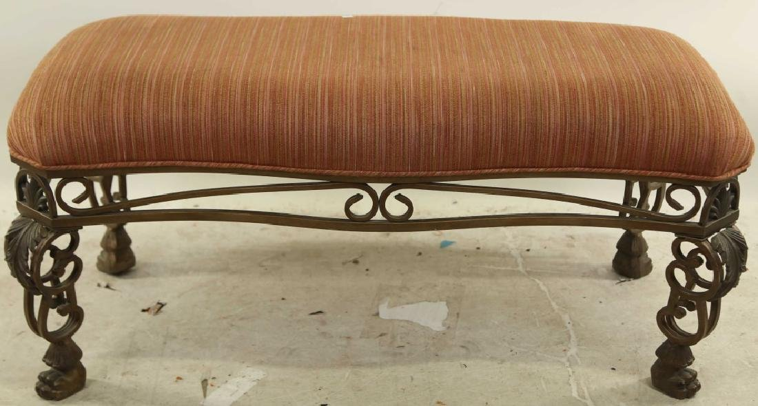 ASHLEY FURNITURE IRON BENCH WITH UPHOLSTERED SEAT
