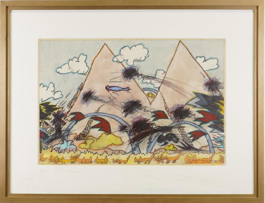 JOHN ALEXANDER ABSTRACT LANDSCAPE DRAWING ON PAPER - 2