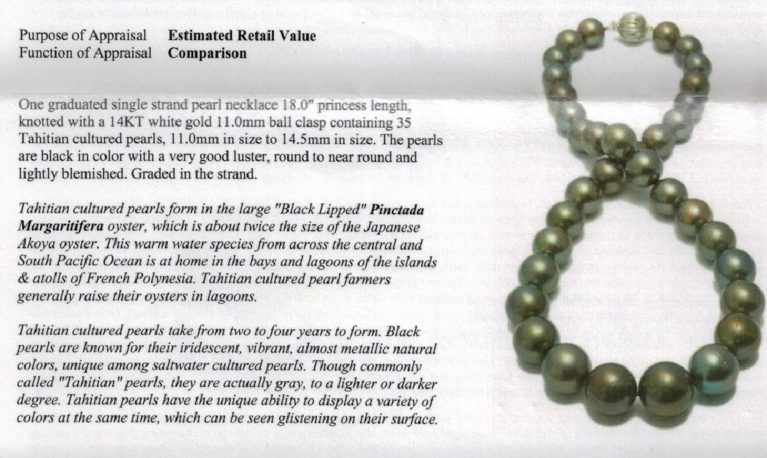 GRADUATED STRAND BLACK TAHITIAN PEARL NECKLACE - 3