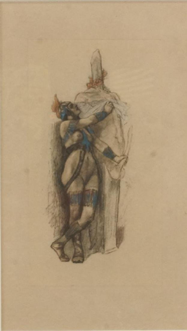 ERNEST FUCHS HAND COLORED ETCHING