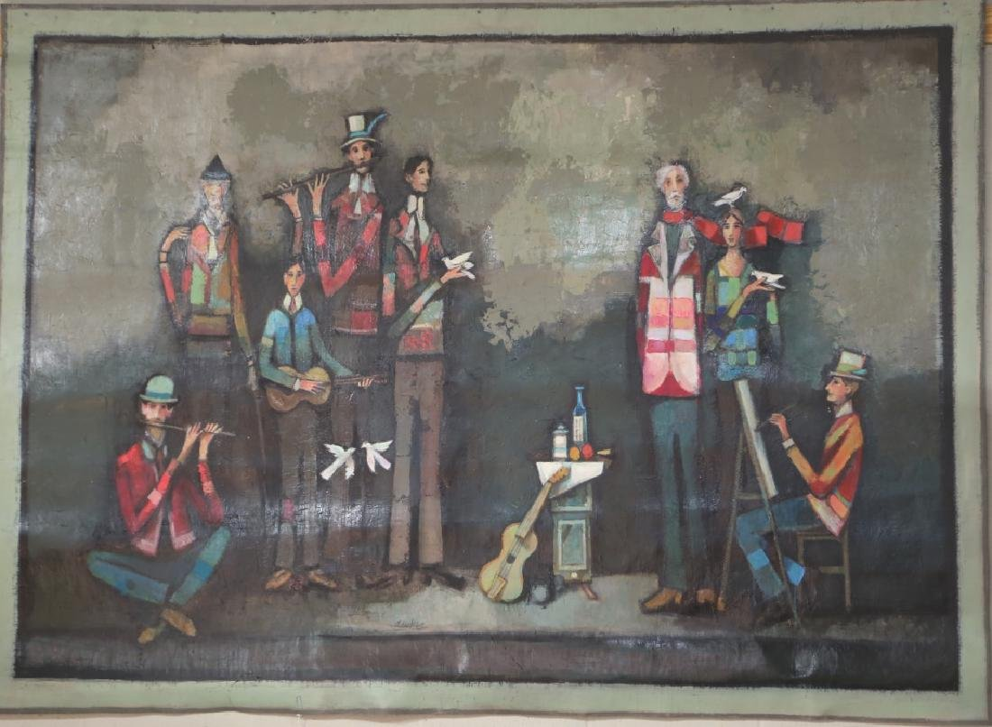 "DAVID ADICKES ""MUSICIANS"" ORIGINAL OIL ON CANVAS"