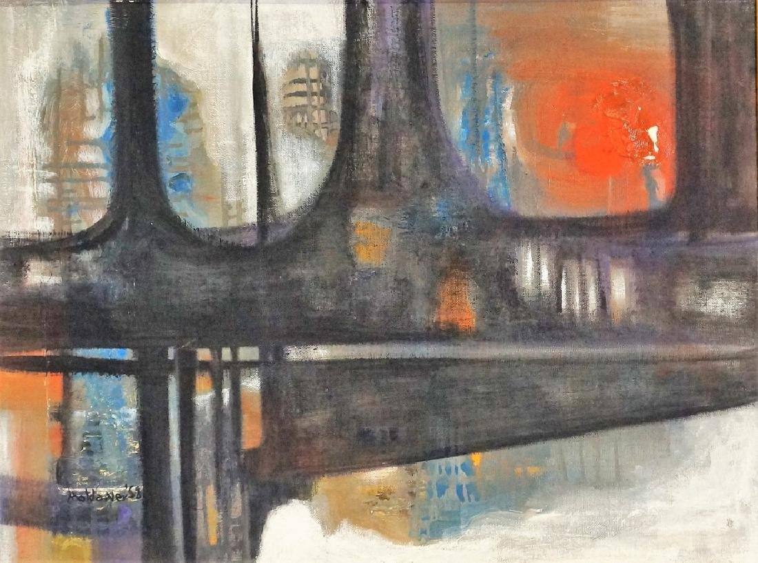 "E. L. MOLANDER ""BRIDGES"" OIL ON CANVAS, 1958."