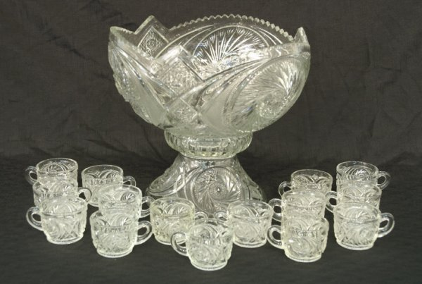 4: Pressed glass punch bowl and 15 cups.
