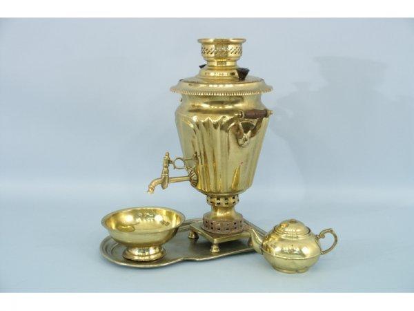 5: 4-piece brass coffee service with brass samovar
