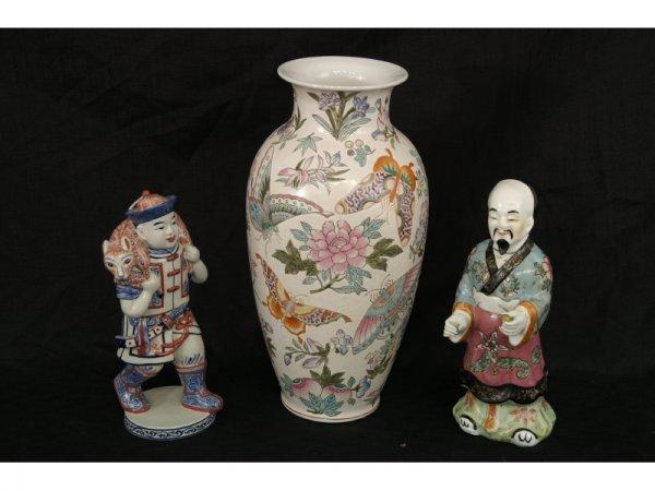 8: Lot of two oriental figures & antique satsuma  vase