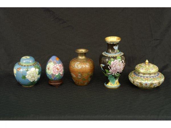 9: Set of 5 Cloisonne items