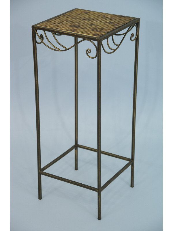 """11: Metal end table. Size: 11"""" x 27.5""""."""