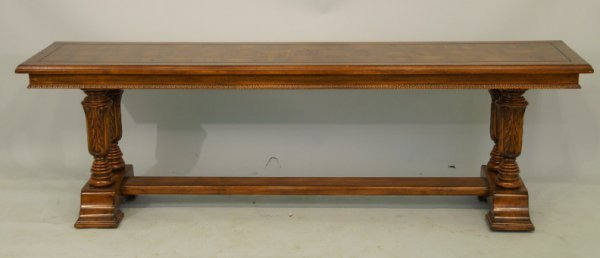 16: Pair of sofa tables with stretchers & parquet  top