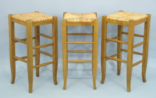 """17: Set of 3 barstools with rush seats. Size: 14"""" x  29"""