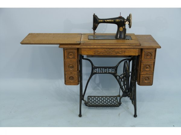 20: Antique Singer sewing machine table