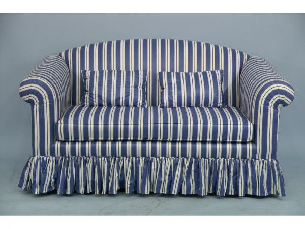 """21: Blue and white striped love seat.  Size: 61"""" x 33"""""""