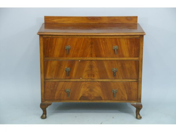 24: A vintage 3-drawer chest with pulls circa 1940s.