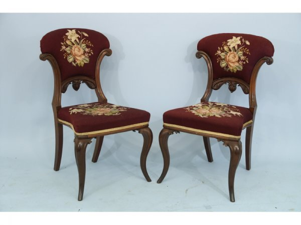 111: Set of 2 burgundy needlepoint game chairs.  Size: