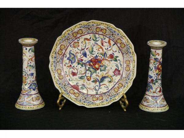 1003: Majolica bowl and matching pair of candlesticks.