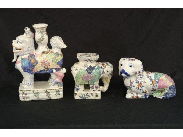 1004: Set of 3 Majolica oriental animals.  Elephant,  d