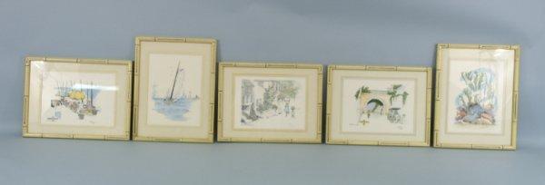 "1005: Set of 5 framed prints of sea scenes. Size: 13"" x"