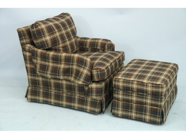 1006: A nice upholstered plaid chair and ottoman.  Size