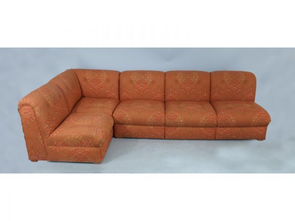 """1007: Red upholstered sectional sofa.   Size: 56"""" x 30"""""""