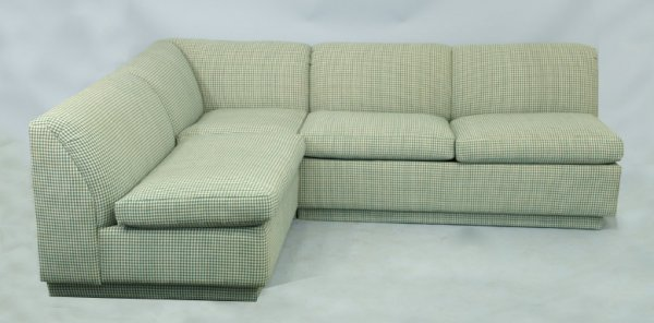 1008: Sectional sofa upholstered in green gingham  fabr