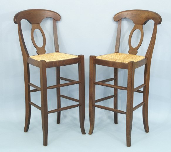 """1009: Pair of barstools with rush seats. Size: 20"""" x 45"""