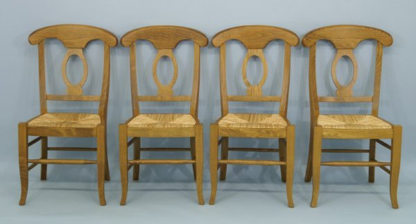 """1012: Set of 4 side chairs with rush seats. Size: 20"""" x"""