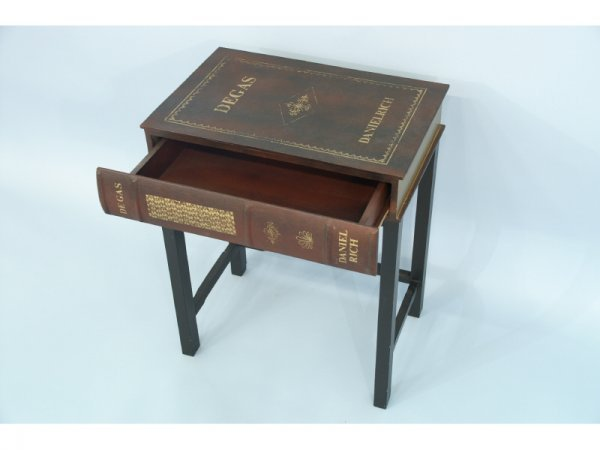 1014: Side table with faux book top with drawer. Size: