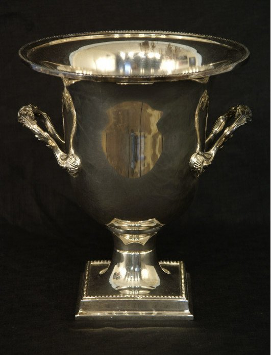 "1018: Silver champagne bucket. Size: 10"" x 11""."