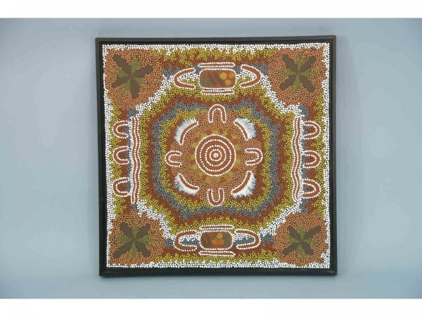 1021: Painting on canvas depicting a women's sacred  dr
