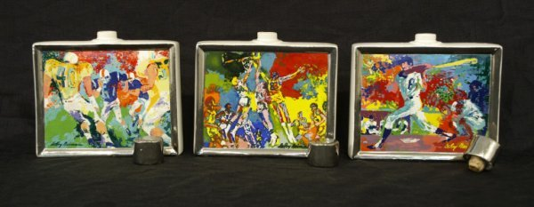 1022: Set of 3 commemorative flasks with sports scenes.