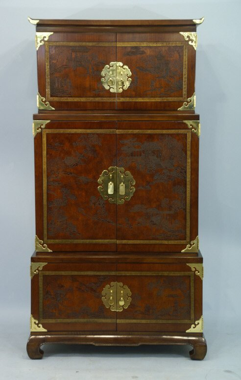 1023: Chinese style TV cabinet with brass mountings.  M