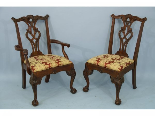 1076: Set of 12  Henredon dining chairs upholstered in