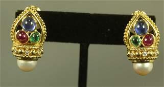 LADIES BVLGARI 18KT YELLOW GOLD EARRINGS