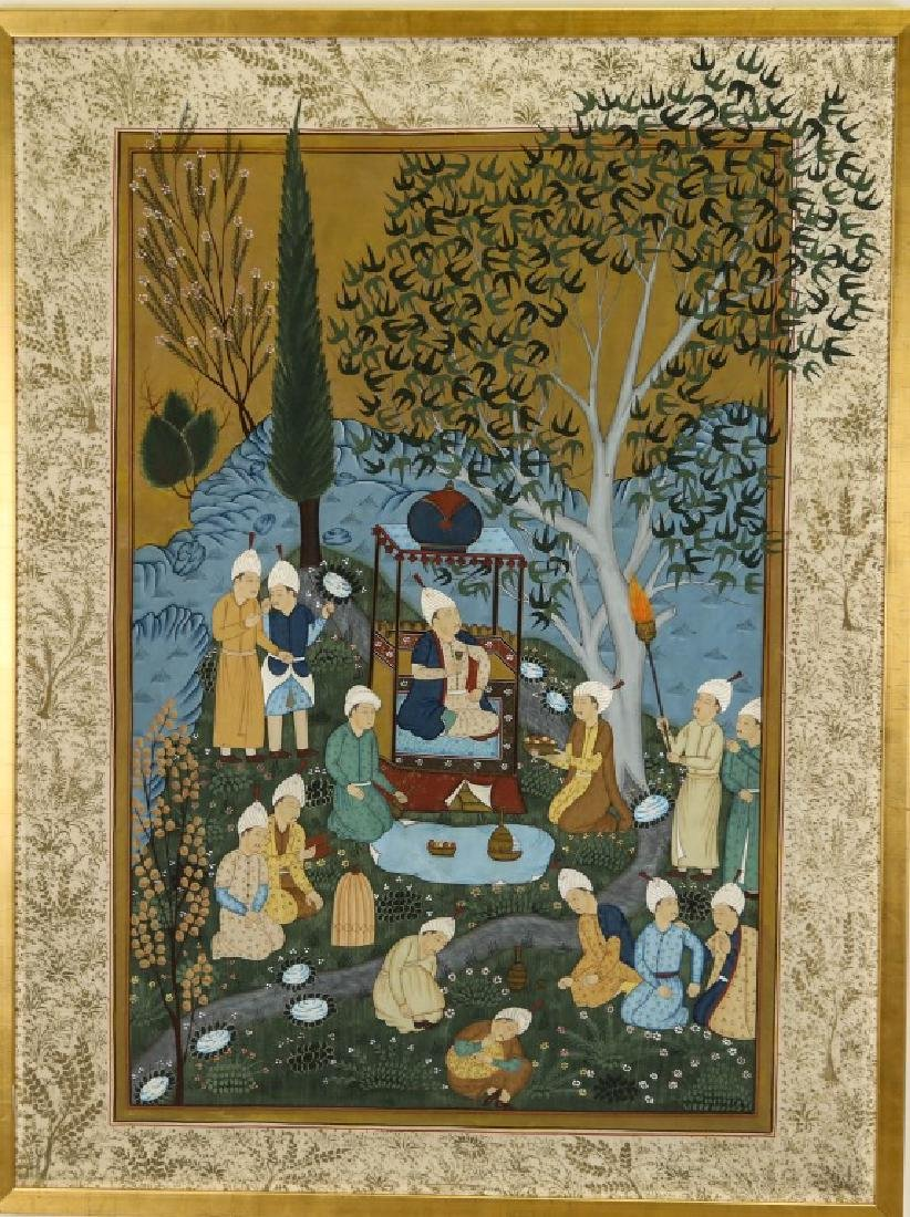 INDIAN MUGHAL PAINTING ON SILK