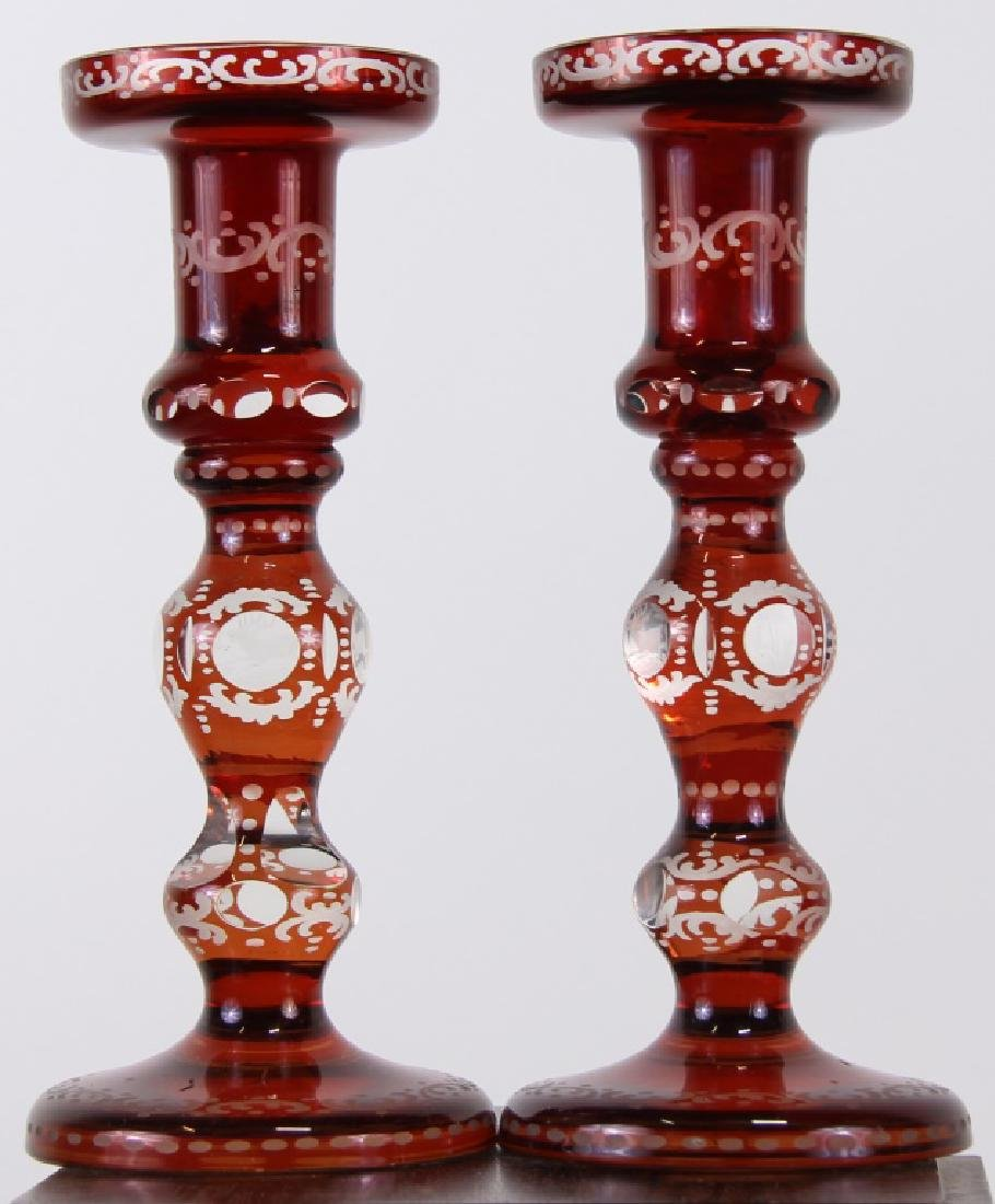 PAIR OF 19th CENTURY BOHEMIAN GLASS CANDLESTICKS