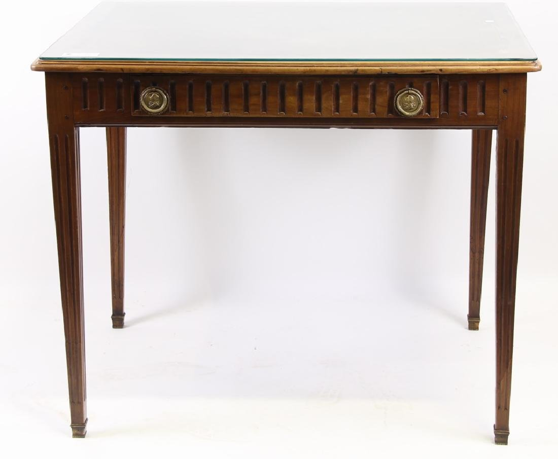 ANTIQUE FRENCH WALNUT DESK WITH TOOLED LEATHER TOP