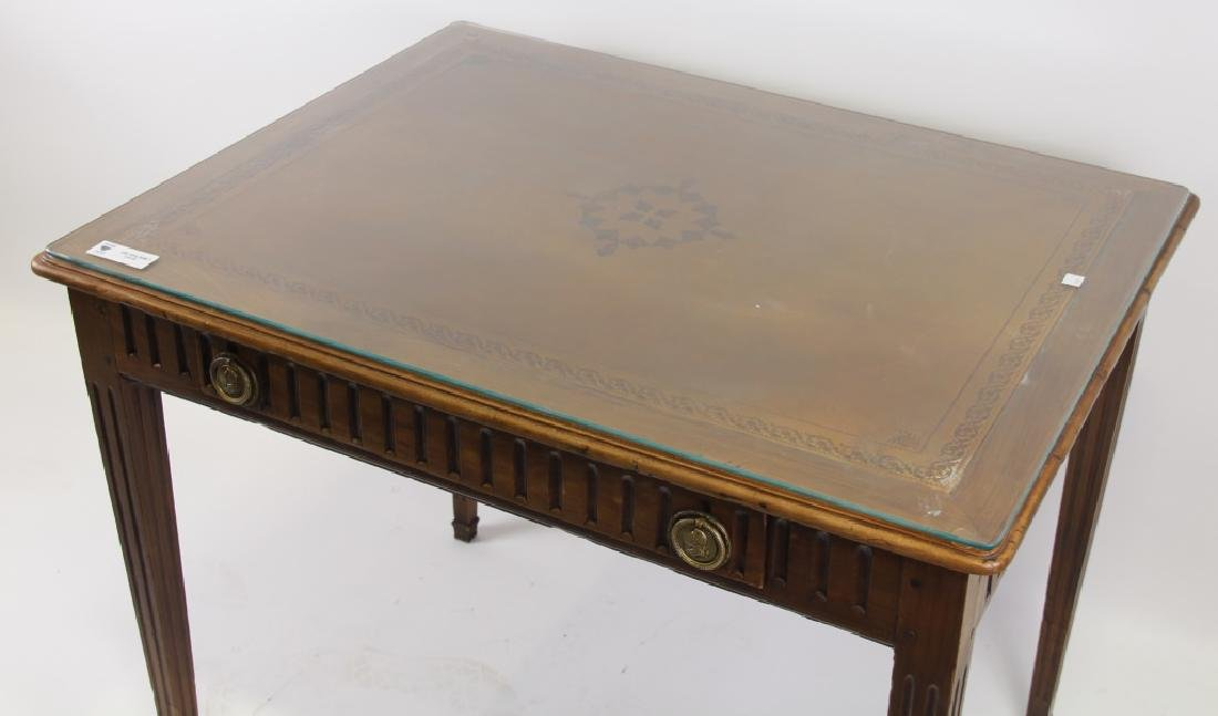 ANTIQUE FRENCH WALNUT DESK WITH TOOLED LEATHER TOP - 2