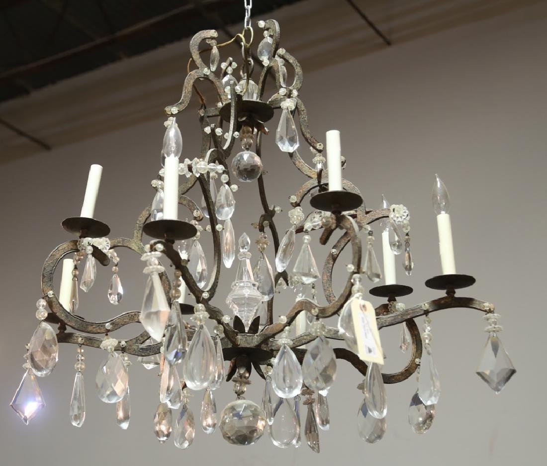 IRON AND CRYSTAL EIGHT-LIGHT CHANDELIER