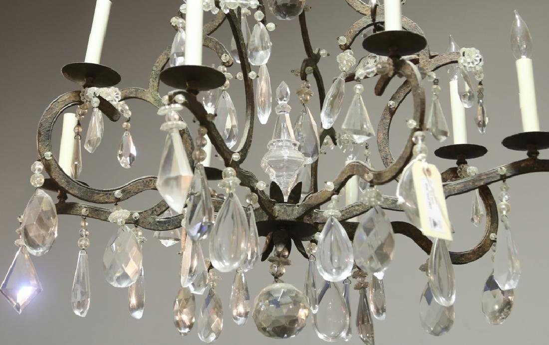 IRON AND CRYSTAL EIGHT-LIGHT CHANDELIER - 3