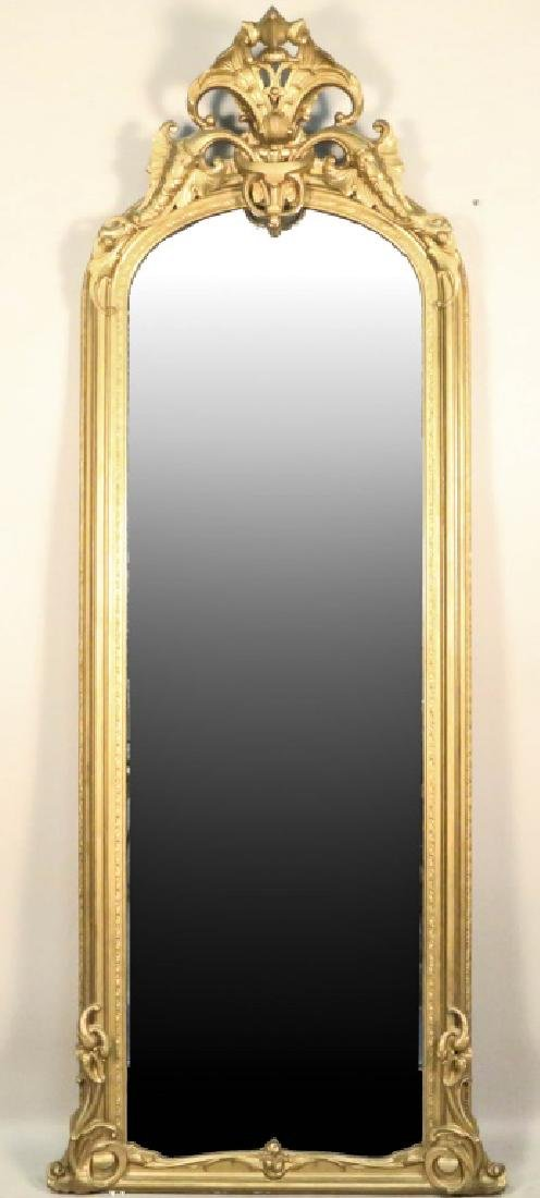CIRCA 1850's FRENCH CARVED & GILDED PIER MIRROR