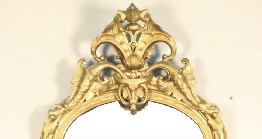 CIRCA 1850's FRENCH CARVED & GILDED PIER MIRROR - 2