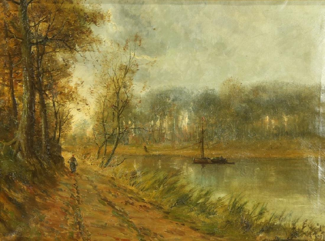 19th CENTURY FRENCH IMPRESSIONIST LANDSCAPE OIL