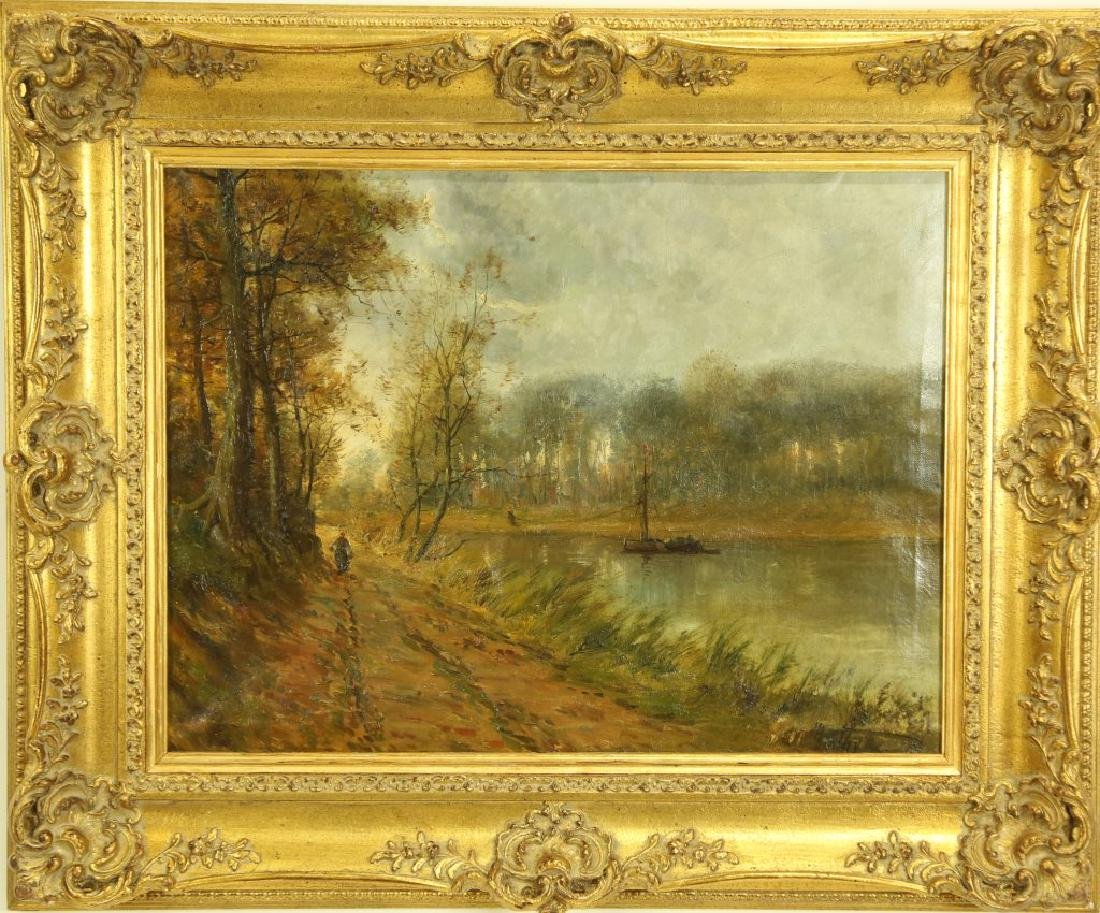 19th CENTURY FRENCH IMPRESSIONIST LANDSCAPE OIL - 2
