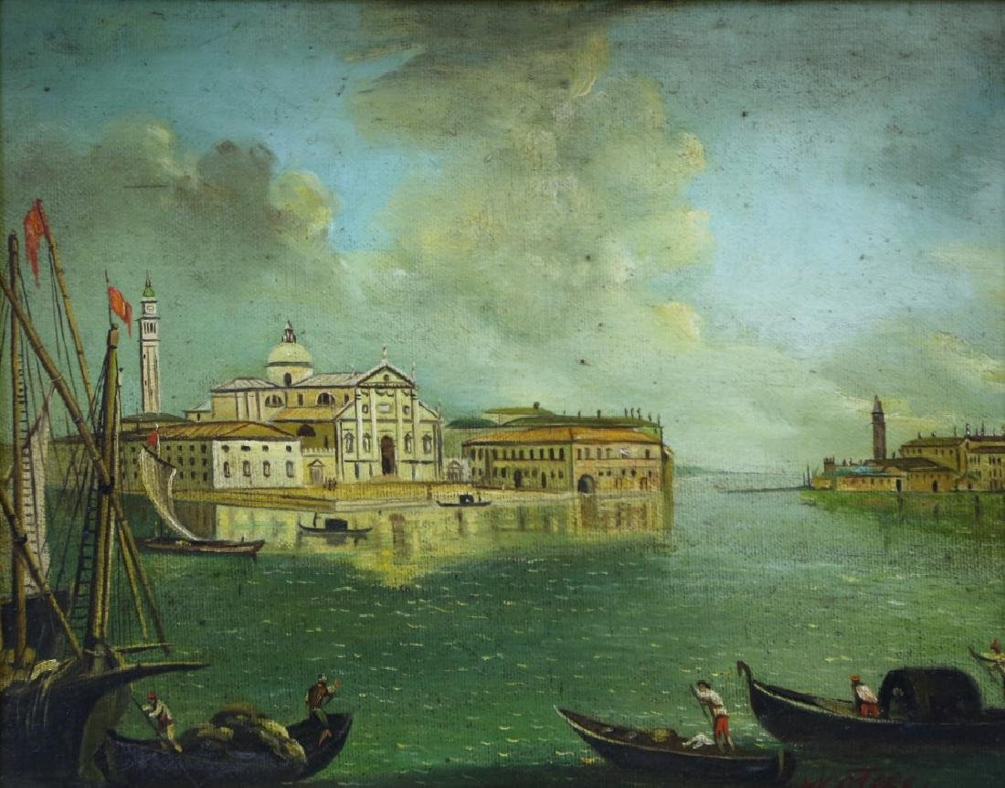 GRAND CANAL VENICE SCENE OIL ON CANVAS PAINTING