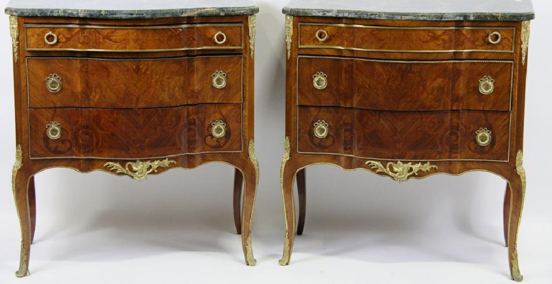 PAIR OF MARBLE TOP FRENCH STYLE CHESTS OF DRAWERS