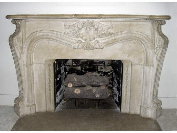68: Antique sandstone French fireplace mantle